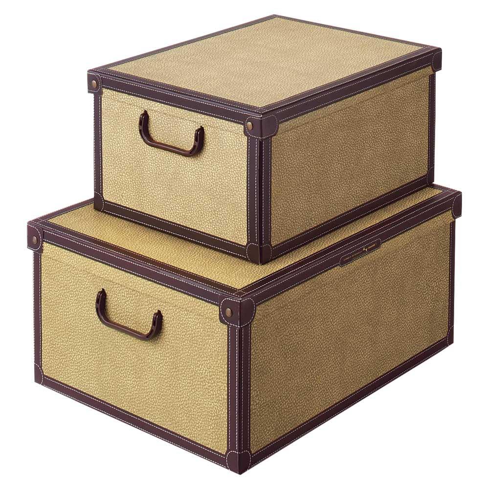イタリア製収納ボックス 中サイズ (オ)クラシック…上から中、大