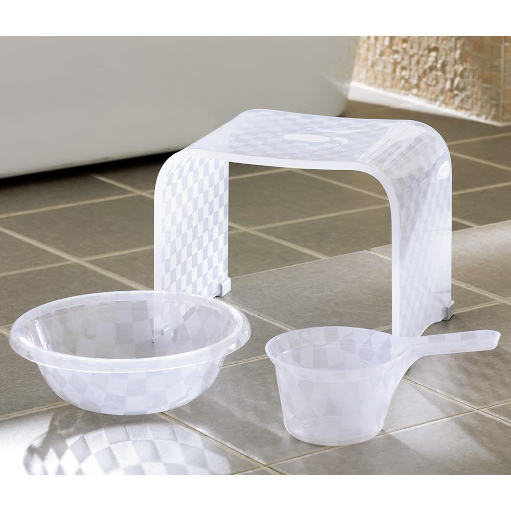アクリル製バスチェア&バスボウル セット (ア)ホワイト系 小 ※湯手桶はセット内容に含まれません。