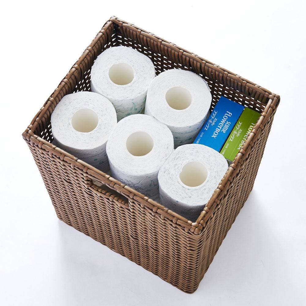 ラタン風ランドリーチェスト スリムトール4段(幅40・奥行34.5・高さ100cm) トイレットペーパーやティッシュの買い置きを収納しても◎