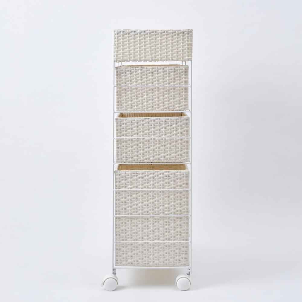ラタン風 ランドリーチェスト ワイドトール4段(幅74・奥行34.5・高さ100cm) (イ)ホワイト 横