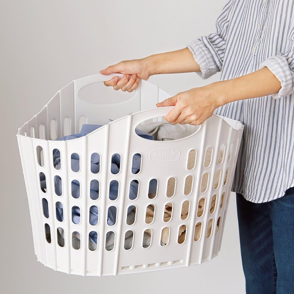折りたたみバスケット2個セット ベーシック 家族分の洗濯物もたっぷり入る、大型のランドリーバスケットです。