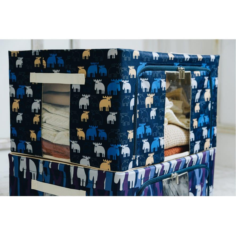 moz 衣類ケース 柄を選べる2個組 積み重ねたまま中身が確認できる透明窓付き。