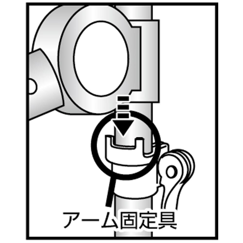 「どこでもポール」ワンタッチつっぱり物干し アーム2本+伸縮タオルハンガー(内外兼用) 風によるアームの動きを抑制するロック機能付き。