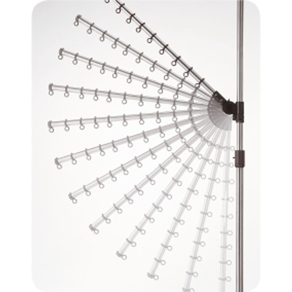 「どこでもポール」ワンタッチつっぱり物干し アーム2本+布団干し2本(室内用) アーム角度は上下12段階に140度、水平に360度回転、高さも調節可能。
