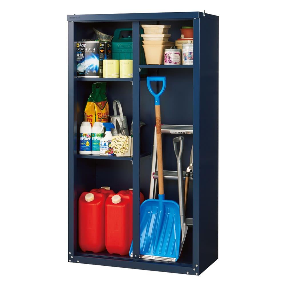 【日本製】オールネイビー引き戸物置 レギュラーハイタイプ(ハーフ棚) (扉を外した状態)ポリタンクや長物にも対応する可動棚付き。
