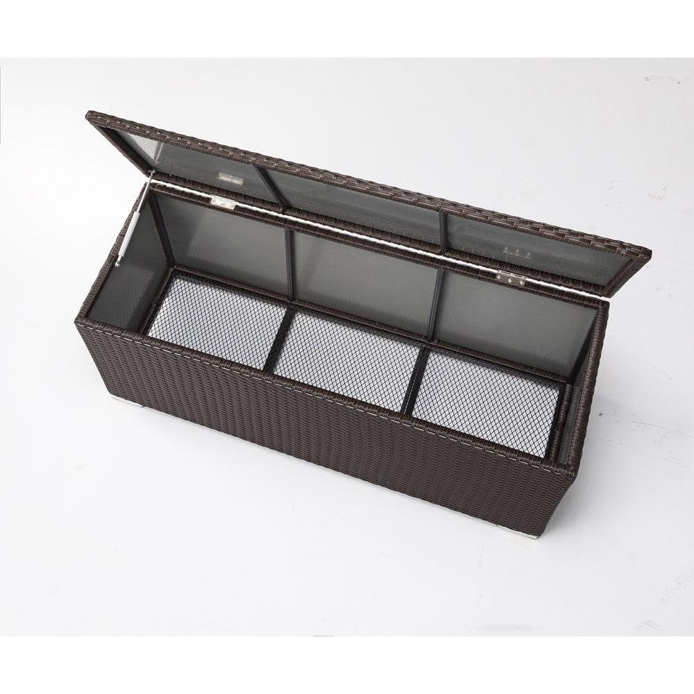 組立不要ラタン調ベンチ収納 幅90cm 内部様子。※写真は幅120cmタイプ。お届け商品は幅90cmタイプです。