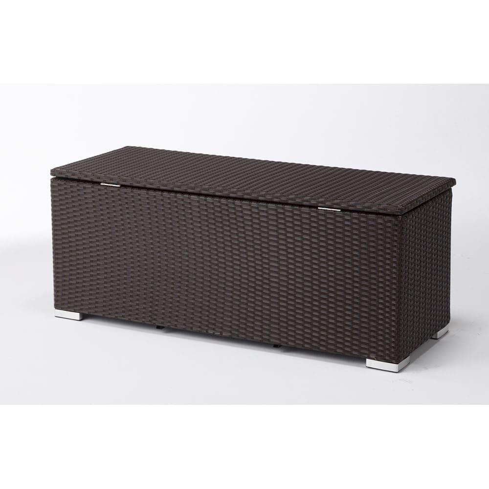 組立不要ラタン調ベンチ収納 幅120cm 背面も美しい仕上げ。