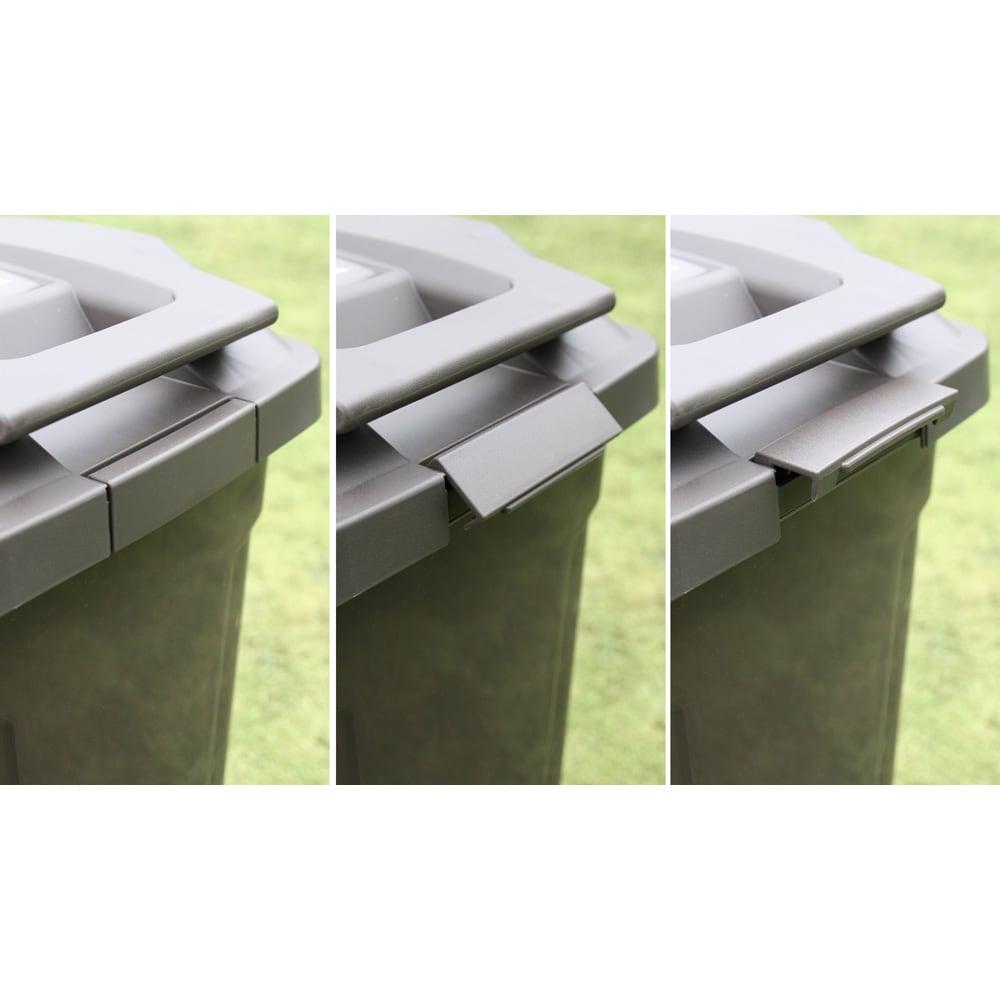 ハンドル付きダストボックス 同色2個組 フタはバックルでしっかりロック。強風などで開いてしまうのを防ぎます。
