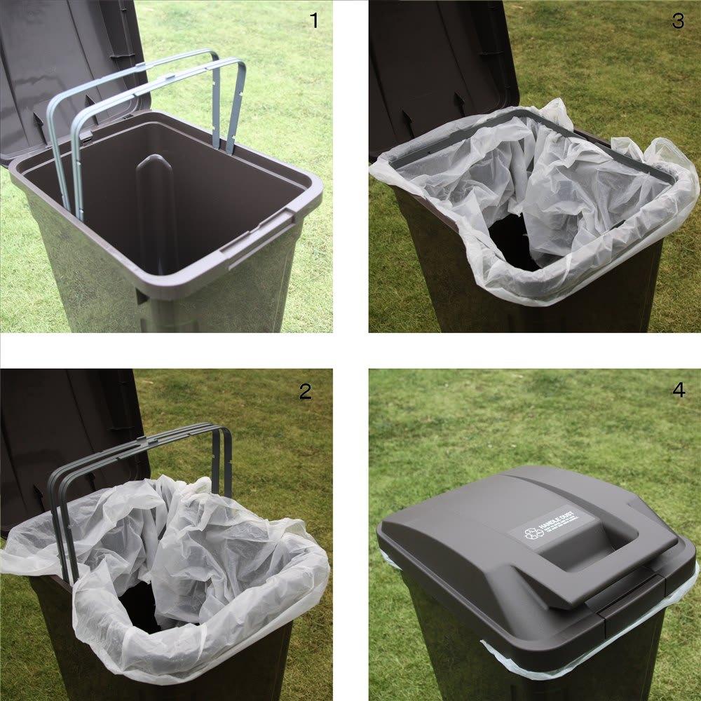 ハンドル付きダストボックス 同色2個組 ペール開口部にポリ袋ストッパー付き。脱着も簡単でゴミ捨てもラクに行えます。