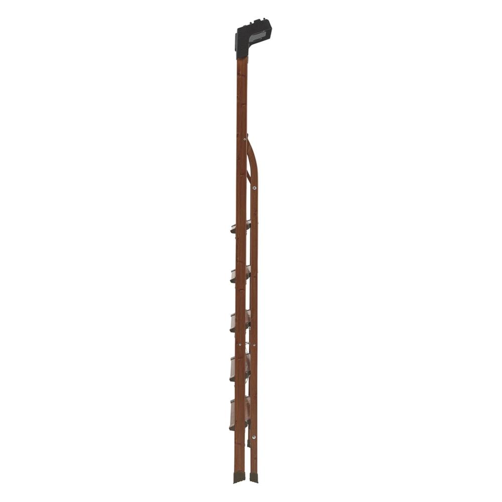木目調ワイドステップ脚立 4段 折り畳むと厚さは14cm