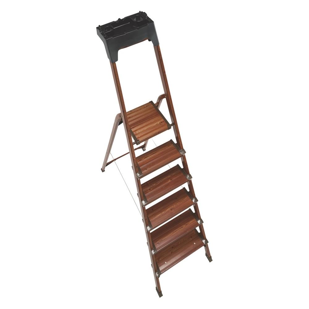木目調ワイドステップ脚立 4段