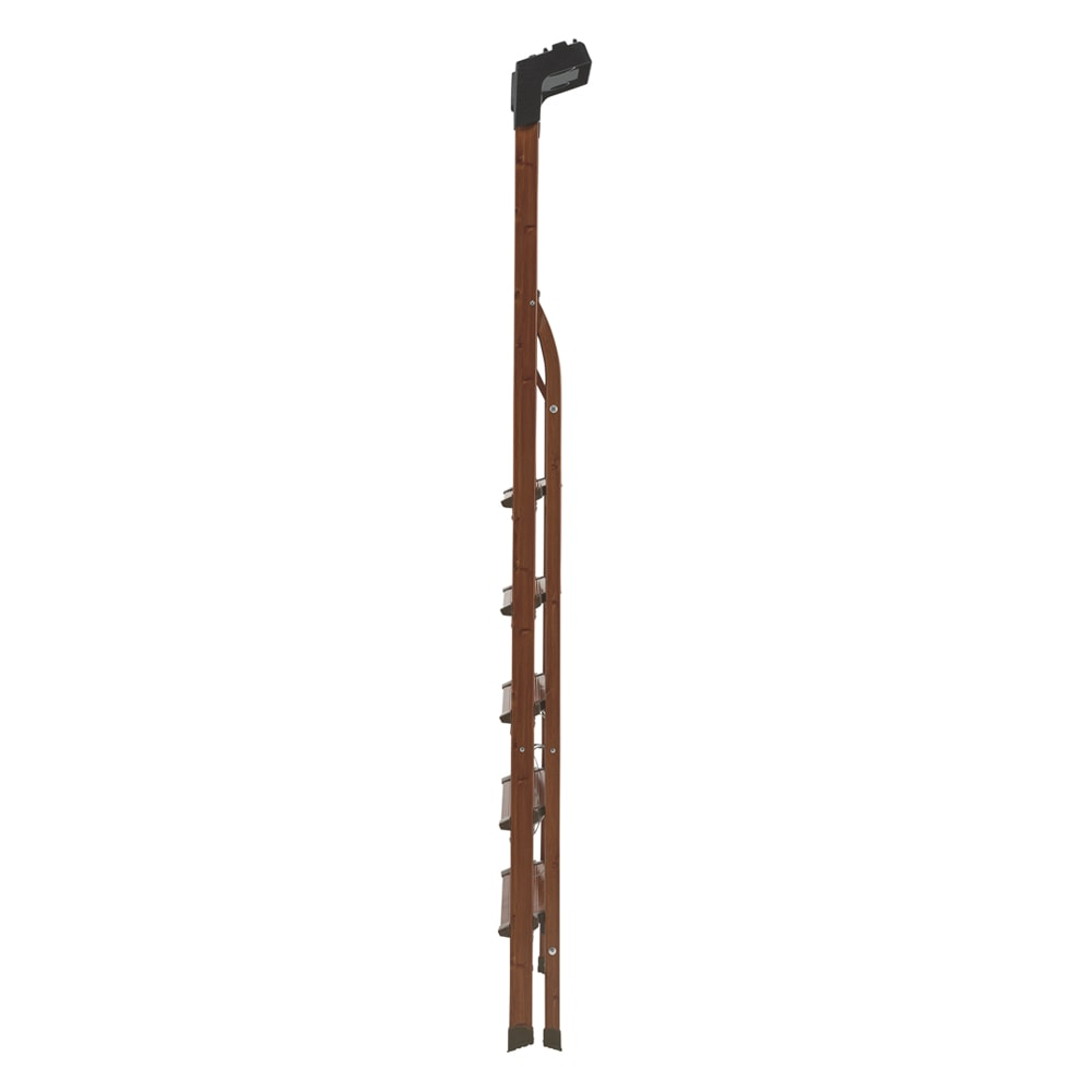 木目調ワイドステップ脚立 8段 折り畳むと厚さは14cm
