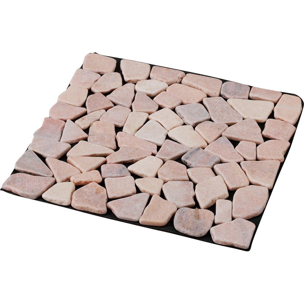 雑草が生えない天然石マット お得な同色48枚組 (ア)ピンク系