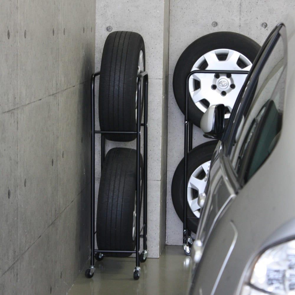 薄型タイヤラック2個組【軽自動車・普通車・大型車対応】【カバー付き有】 シーズンオフのタイヤ収納の新しい提案です。