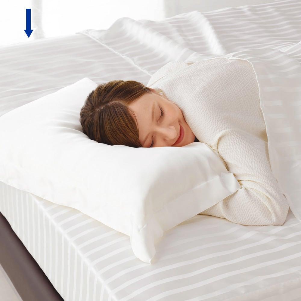 オールシルクシリーズ サテン織りシーツ&カバー ベッドシーツ うっとりするような滑らかな触り心地。 。※シリーズコーディネート例。お届けはベッドシーツのみです
