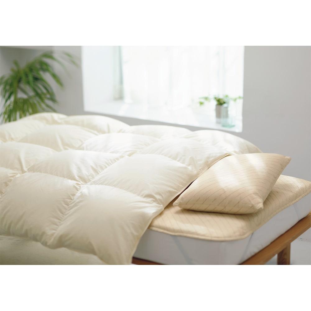 綿100%生地のダニゼロック羽毛布団 ※写真はシングルロングサイズです。