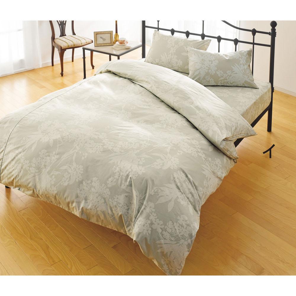 ダニゼロック お得なシーツ&カバーセット 敷布団用 (イ)花柄グリーン ※写真はベッド用セットになります。