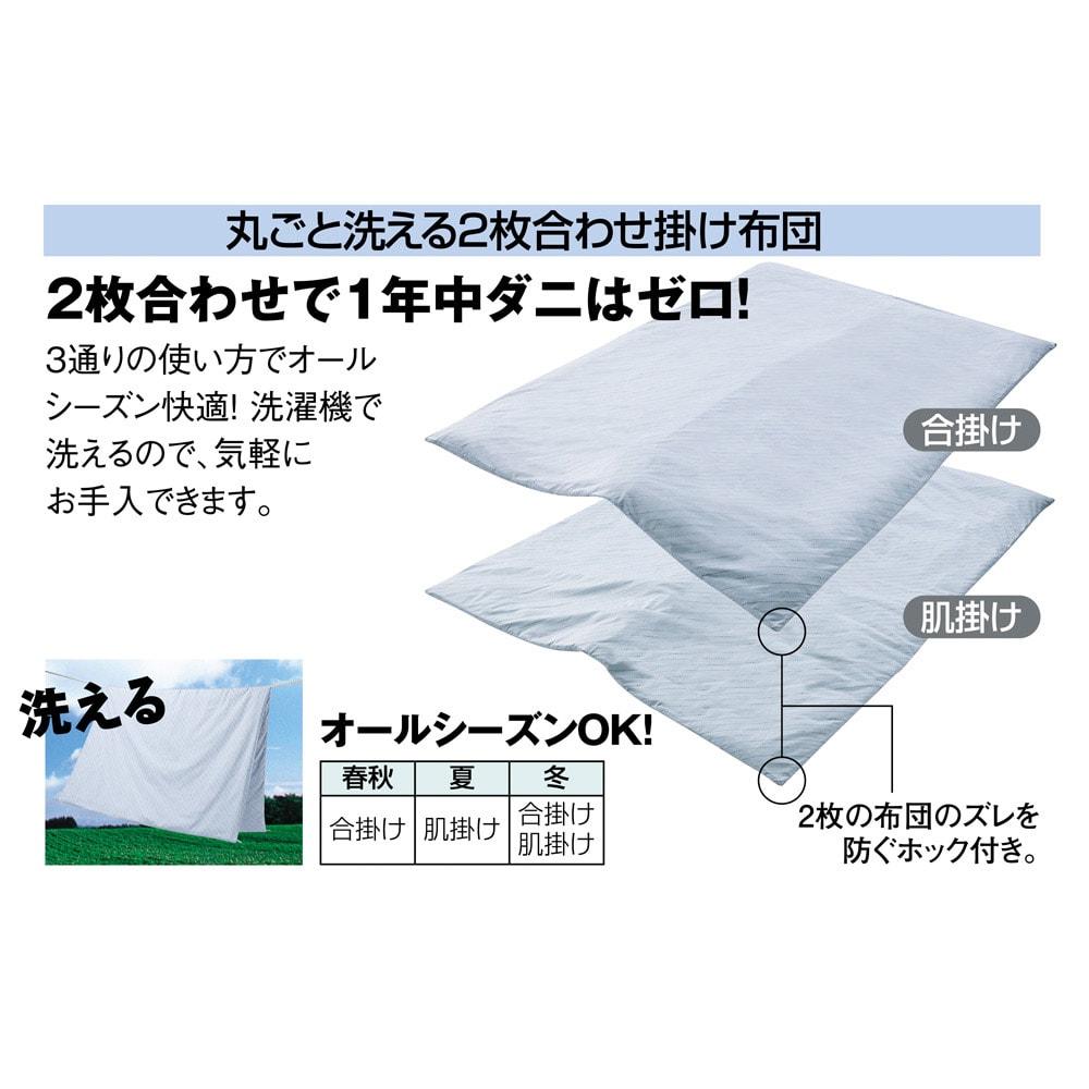 綿100%生地 本気のダニ対策ダニゼロック 洗える2枚合わせ掛け布団 洗えるので安心感が増します。