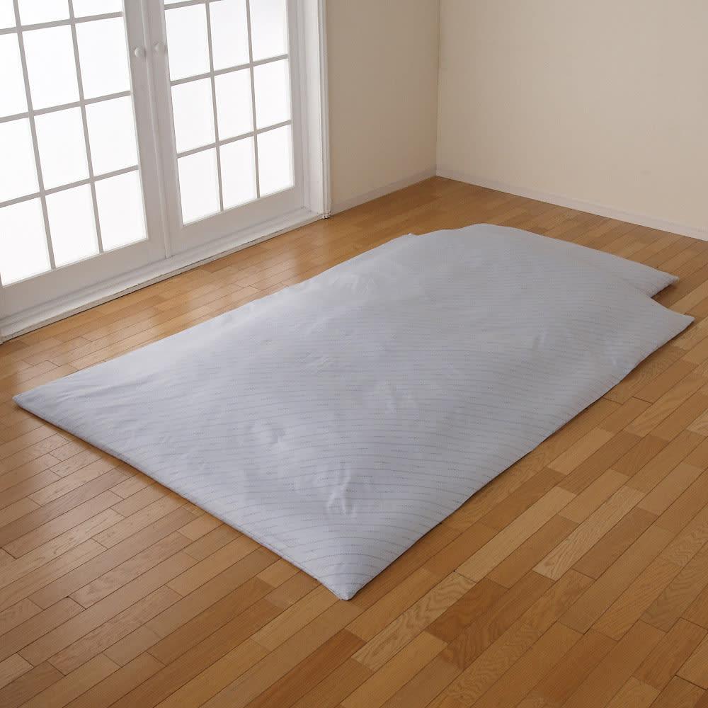 綿100%生地 本気のダニ対策 ダニゼロック ふんわり掛け布団 写真は同シリーズ使用例(シングルサイズで撮影)。商品は掛け布団になります。