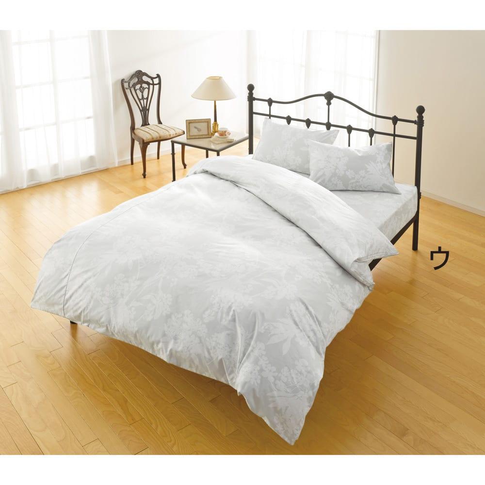 2段ベッド用3点 (綿100%のダニゼロック シーツ&カバーセット) (ウ)花柄グレー ※写真はベッド用セットになります。