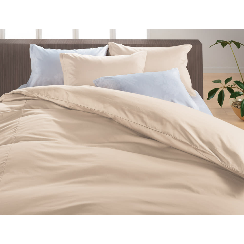 綿100%のダニゼロック ベッドシーツ オーガニックコットンタイプ (ク)ベージュ ※シリーズ使用例。お届けはベッドシーツです