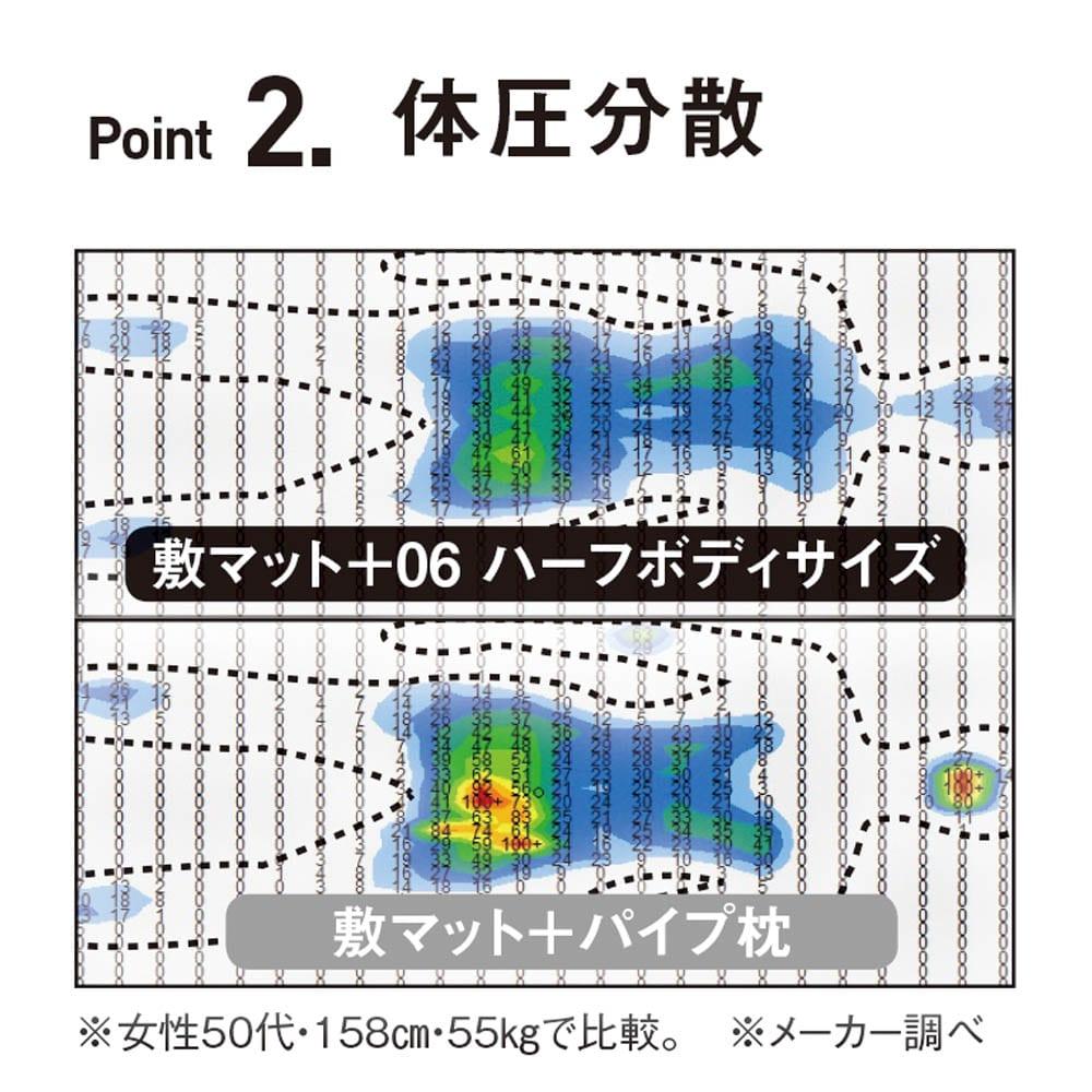 フォスフレイクス枕クラシック&ロイヤーレ 2個組 頭の重みが後頭部に集中せずふわりと分散。ハーフボディサイズは腰まわりにかかる圧力までも分散します。