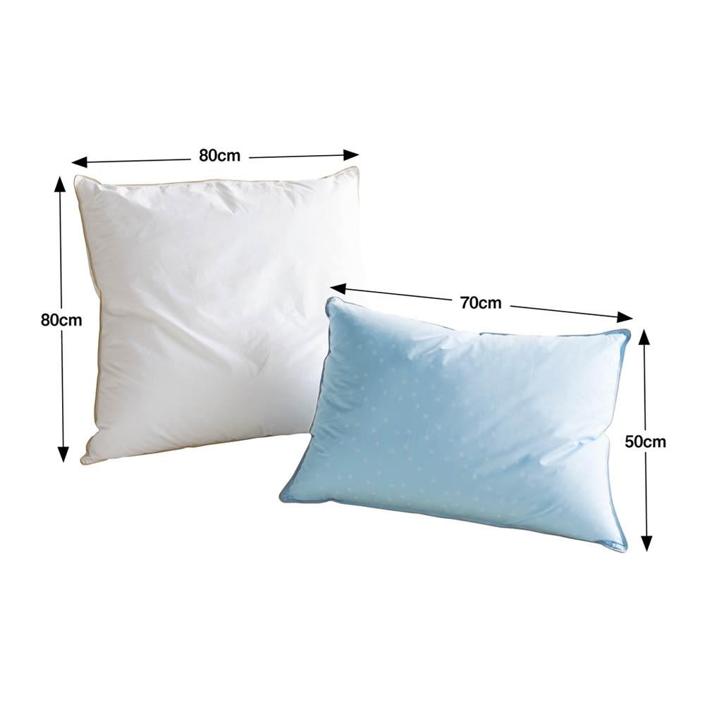 【フォスフレイクス】枕クラシック&ロイヤーレ 枕カバー付き 左からハーフボディタイプ、大判タイプ