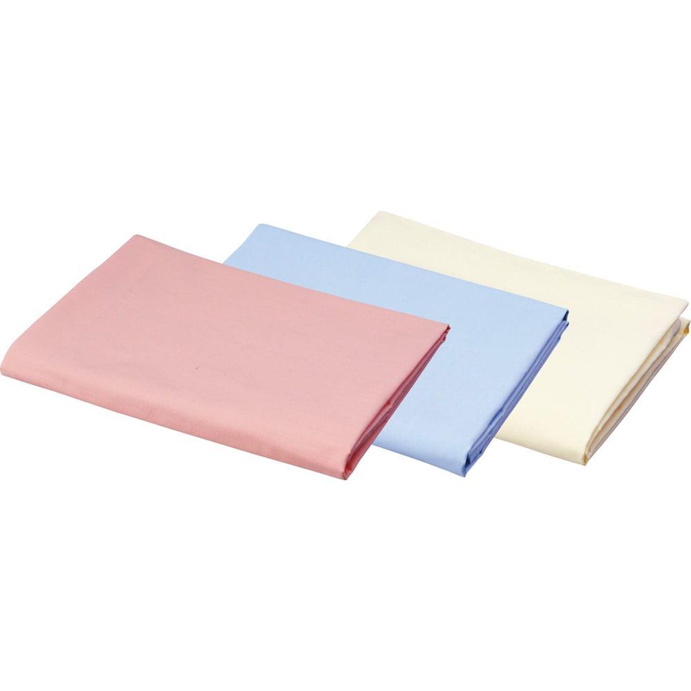 デンマーク製フォスフレイクス安眠枕と綿100%カバー 左から(ア)ピンク (イ)ブルー (ウ)アイボリー カバー