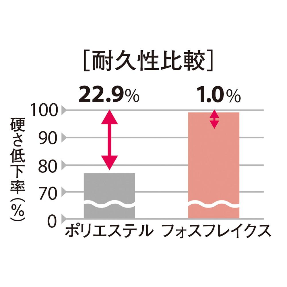 フォスフレイクス枕 コンフォートU 専用カバー付き 驚きの耐久性でへたりにくく、使い始めの快適さが長続きします。 ※枕に100Nの荷重を5秒間4000回繰り返し加えた後の比較。 ボーケン品質評価機構調べ