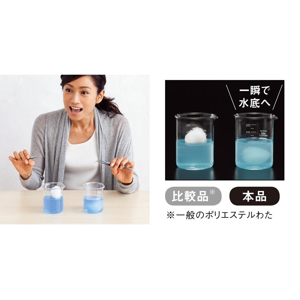あったか洗える清潔寝具 2枚あわせ掛け布団 北澤恵理さん「すごーい!一瞬で水に沈みましたね。すごいすごい。だから布団の中の汚れまで、しっかり洗えるんですね!」