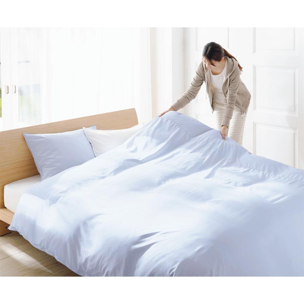 アンチストレス(R) 敷布団カバー 枕カバー左から(エ)ブルー(ア)ホワイト 掛けカバー(エ)ブルー ※お届けは敷布団カバーです。