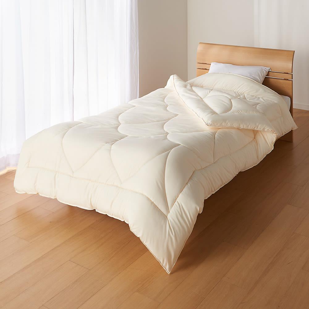 あったか洗える清潔寝具 お得な2枚合わせ掛布団+敷布団+枕 シングル3点セット 2枚合わせ掛け布団