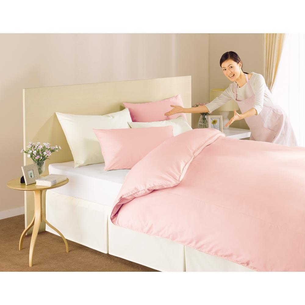 綿100%なのにシワになりにくいスーパーソフト加工 ベッドシーツ ファミリーサイズ [色見本] (イ)ピンク