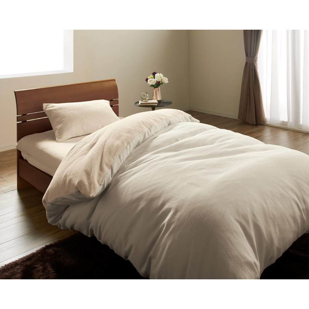 今治タオルシーツ&カバーシリーズ 枕カバー (ア)グレージュ ※シリーズコーディネート例。お届けは枕カバーのみです。