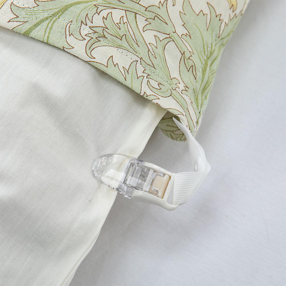 V&Aアネモネ柄 衿カバー ズレ防止クリップ ワンタッチのクリップで寝ている間のズレを防止。