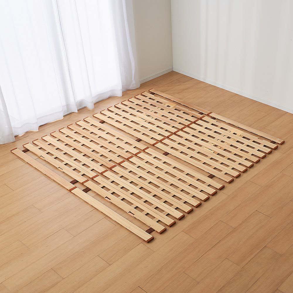 気になる湿気対策に薄型・軽量桐天然木すのこベッド 2つ折りタイプ ファミリー200…シングル2枚