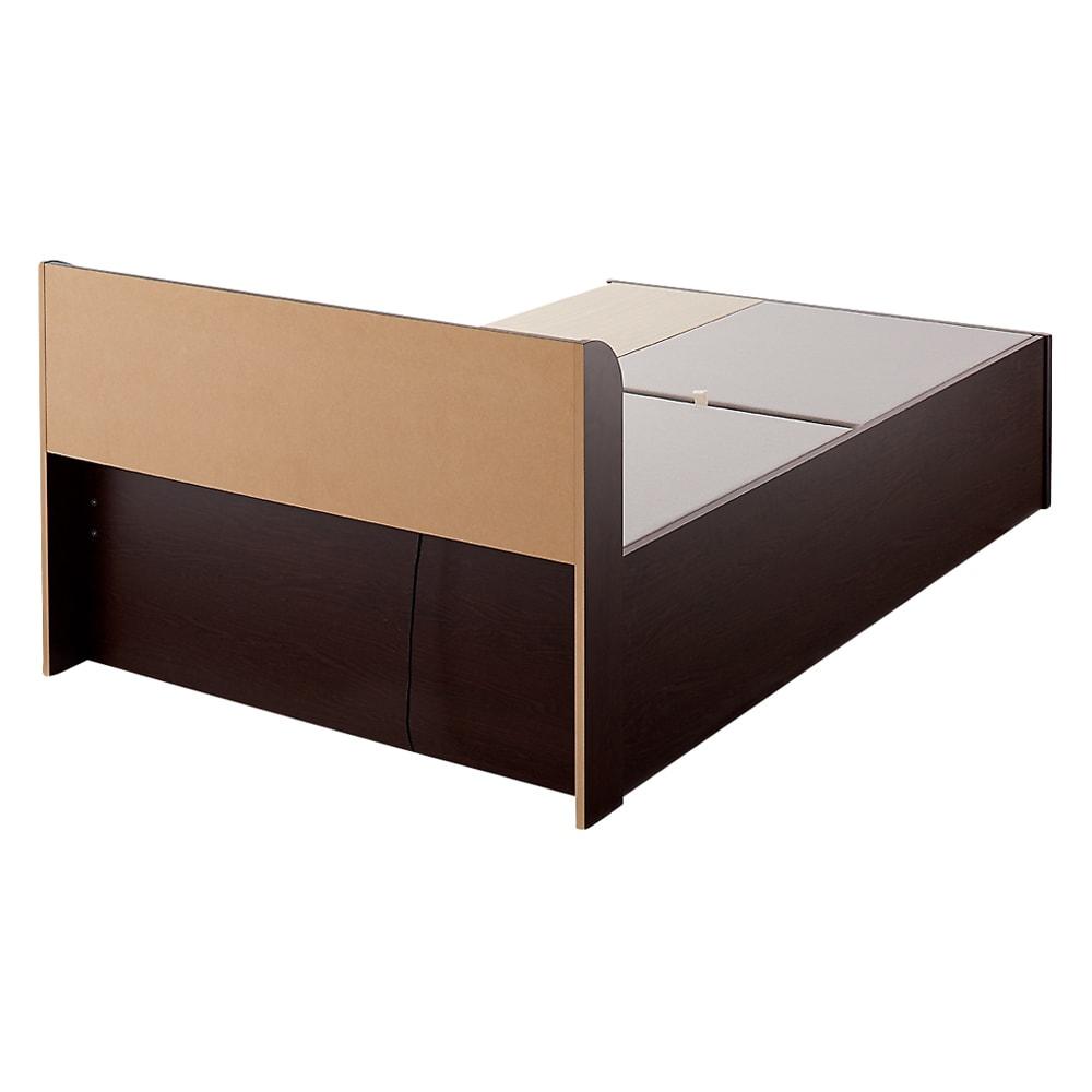 寝そべりながらタブレットが使えるベッド フレームのみ (イ)ダークブラウン 背面