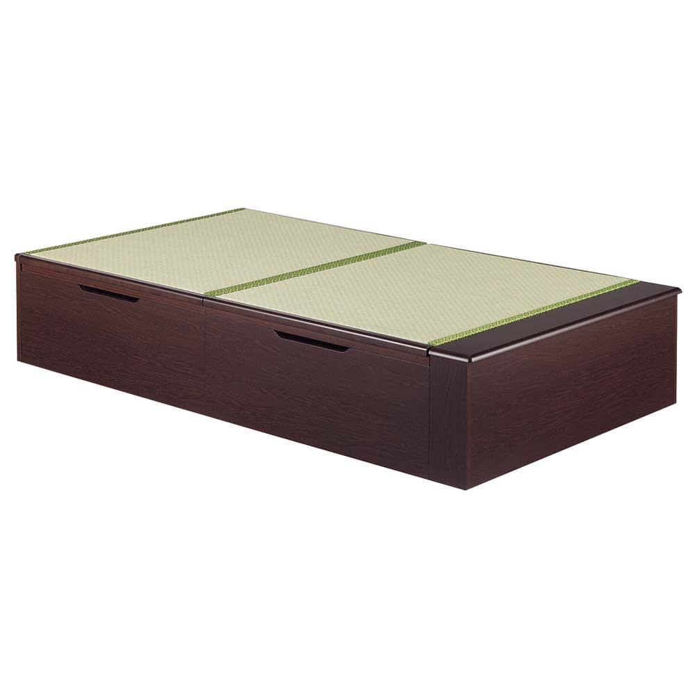 跳ね上げ美草畳収納ベッド ヘッドなし (イ)グリーン ロングタイプは足元収納が付いて長さ213cm。ロングの布団もOKです!