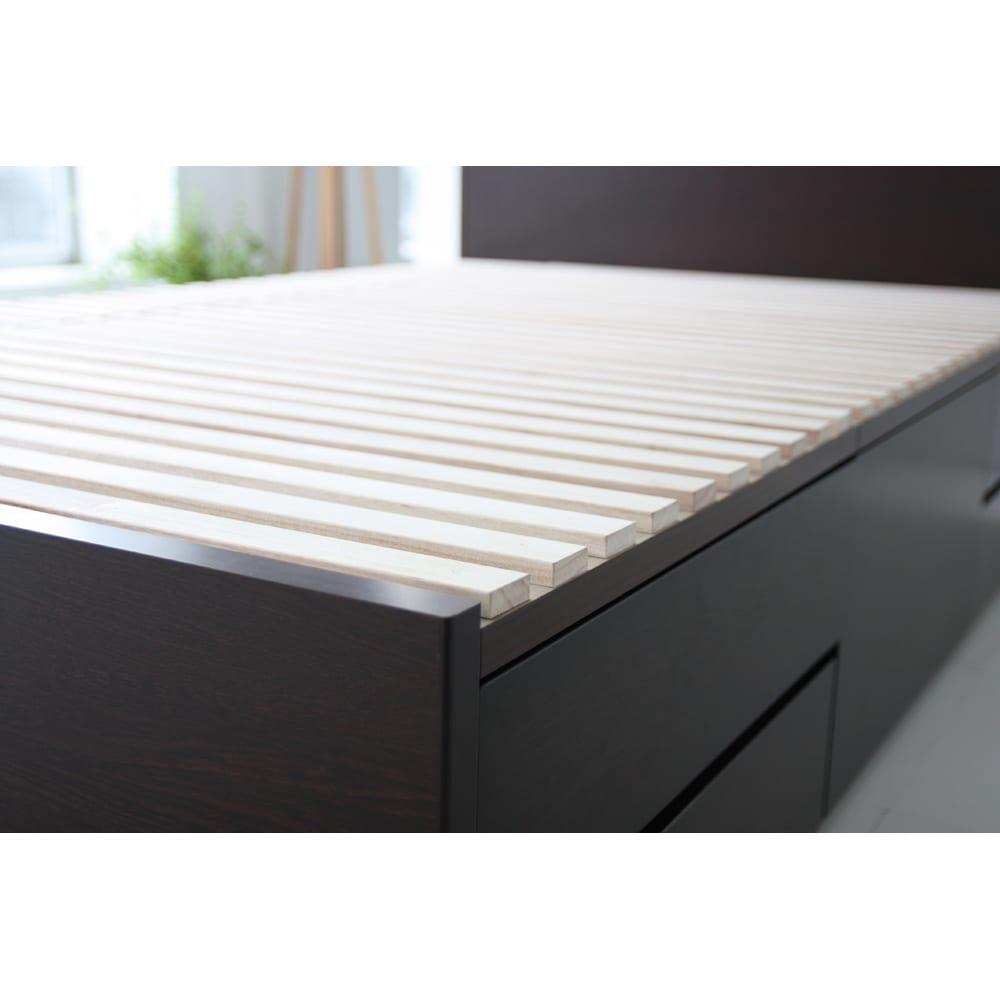 布団が使える洋服たんすベッド ヘッドなし(高さ41cm) すのこ形状の床板は布団使いもOK。