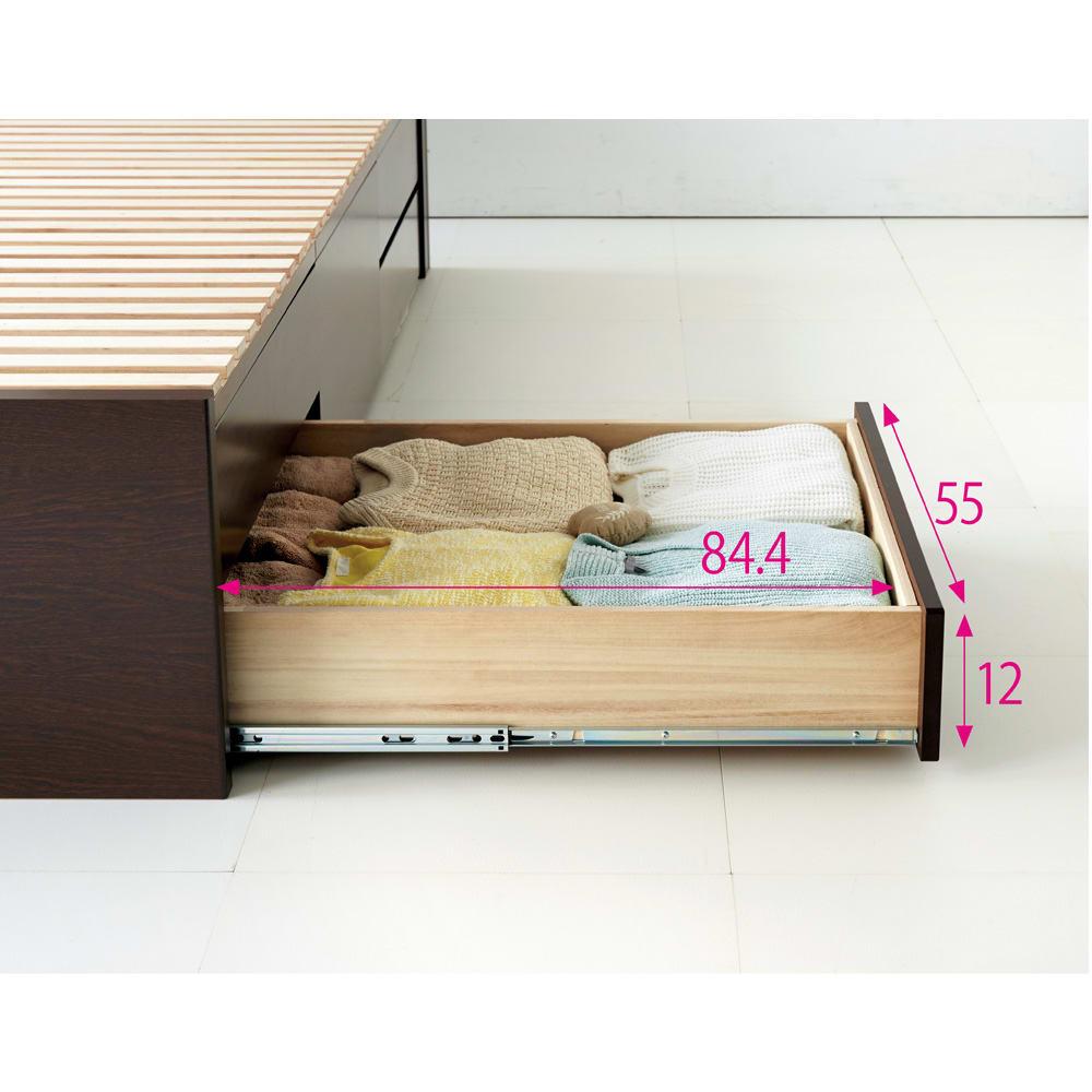 布団が使える洋服たんすベッド ヘッド付き(高さ80・床面まで41cm) たっぷりしまえて、探しやすい 最大70cm引き出せるフルスライドレール付きの引き出し。