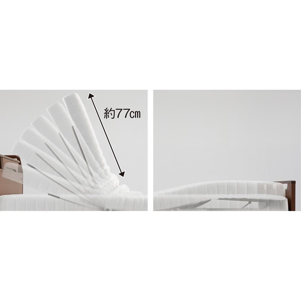 【非課税対象商品】照明付き電動リクライニングベッド 背部約70度、脚部約20度で、それぞれ別々に無段階で調整できますので、お好みの姿勢が保てます。