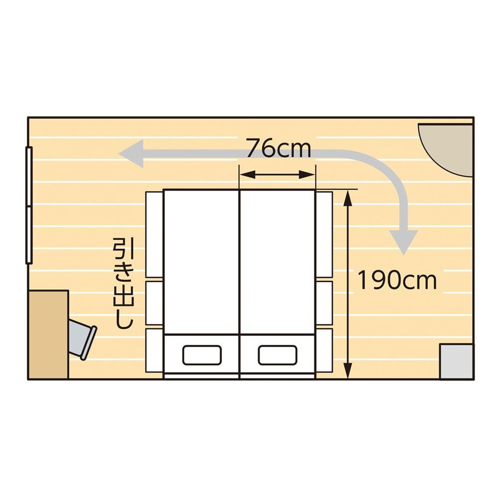 国産マットレス付き棚付き省スペースベッド(ショート/レギュラー) お部屋の中心にベッドを2台並べても横スペースと通路を確保できます。