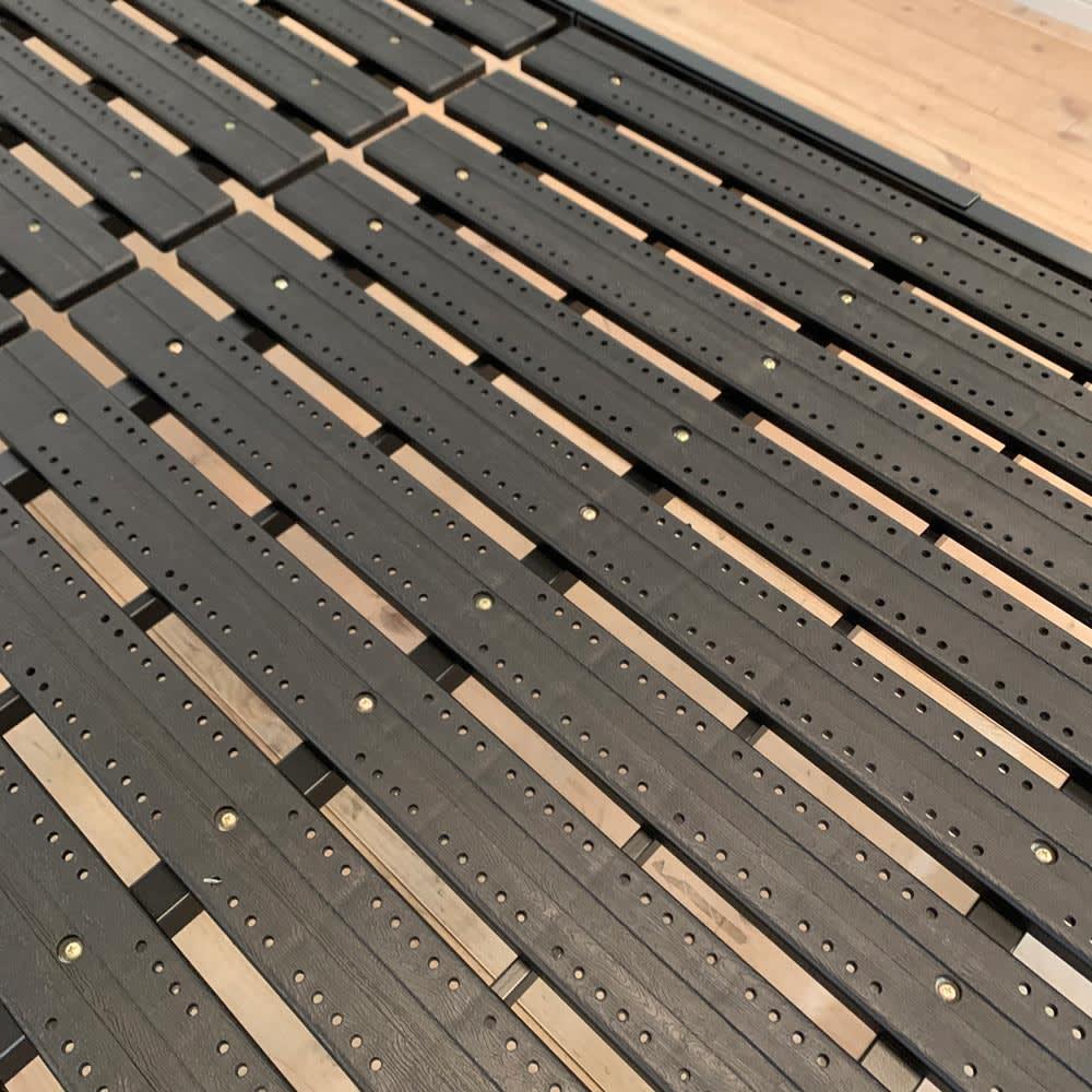 コンセント付き抗菌樹脂すのこベッド ミドルタイプ ポケットコイルマットレス付き幅97長さ195高さ19cm (イ)ブラック 通気性に優れた抗菌・防カビ加工の樹脂すのこを使用。