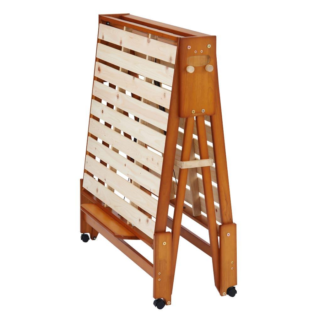 折りたたみ式ひのきすのこベッド シングルハイ 折りたたみ時