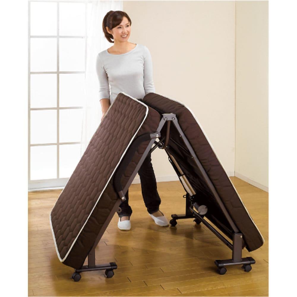 開梱してすぐ使える![組立不要]低反発ダブルリクライニング電動ベッド 折りたたみがラクなスプリング付き。