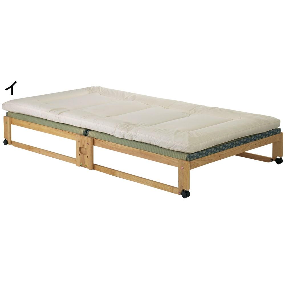 畳空間を簡単に演出できる折りたたみベッド ハイタイプ(棚なし) 布団をのせた時のイメージ ※写真はシングルです。
