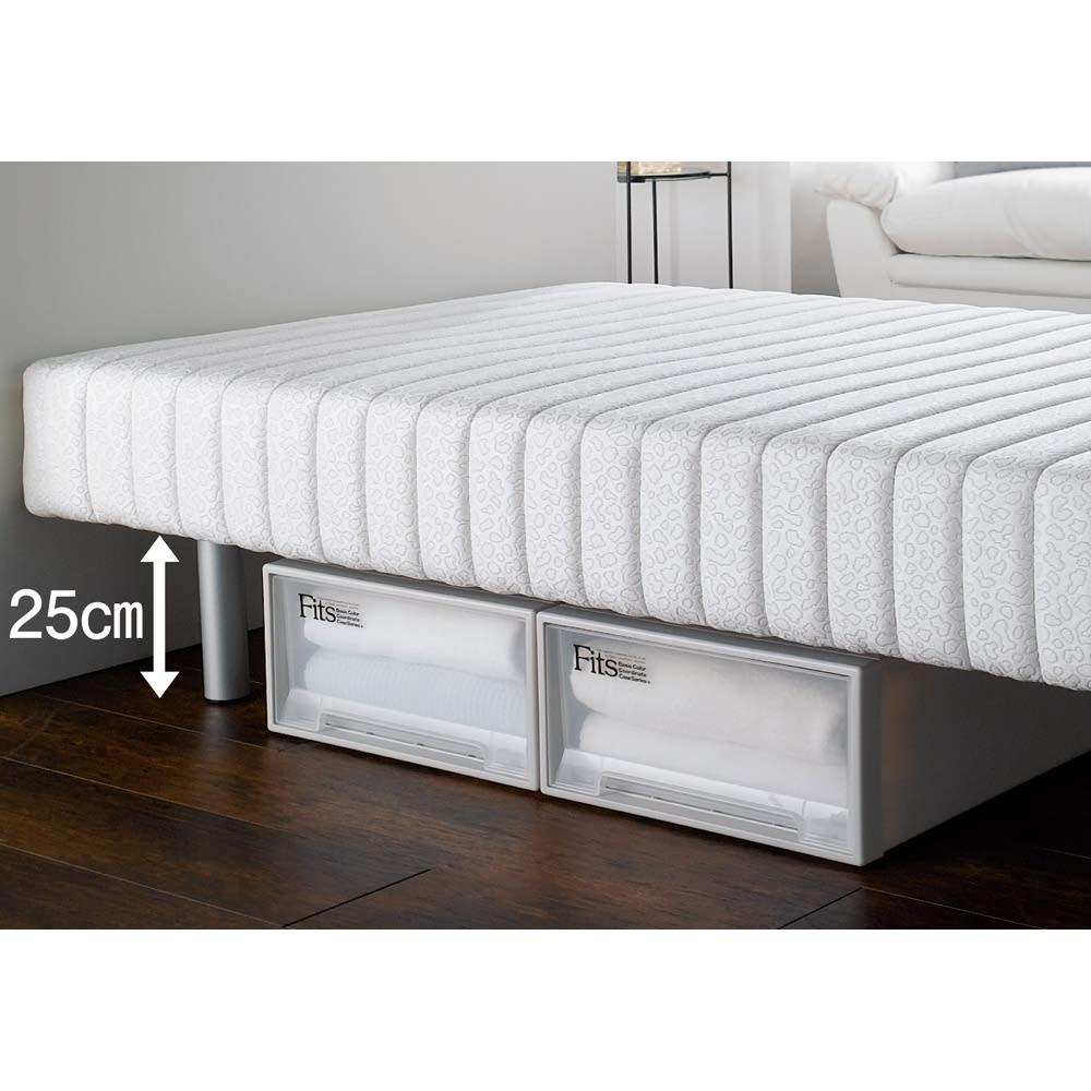 France Bed/フランスベッド 軽くて丈夫な脚付きマットレスベッド 脚の高さが25cmあるので、ベッド下に市販の衣類収納ケースなどを収納できます。 ※写真はハイタイプ・脚高25高さ47.5cmです。