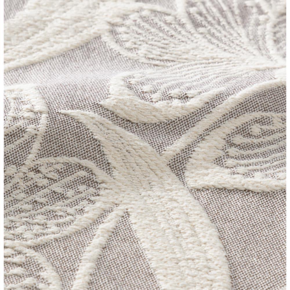 ポルトガル製フリンジ付きマルチカバー〈ペタラ〉 (ア)グレージュ系 ※立体感のあるジャカード織