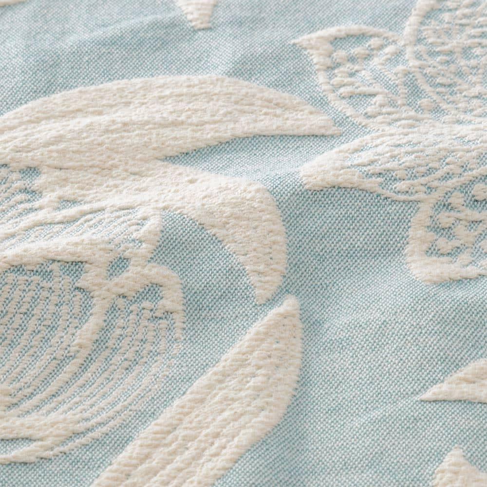 ポルトガル製フリンジ付きマルチカバー〈ペタラ〉 (イ)ライトブルー系