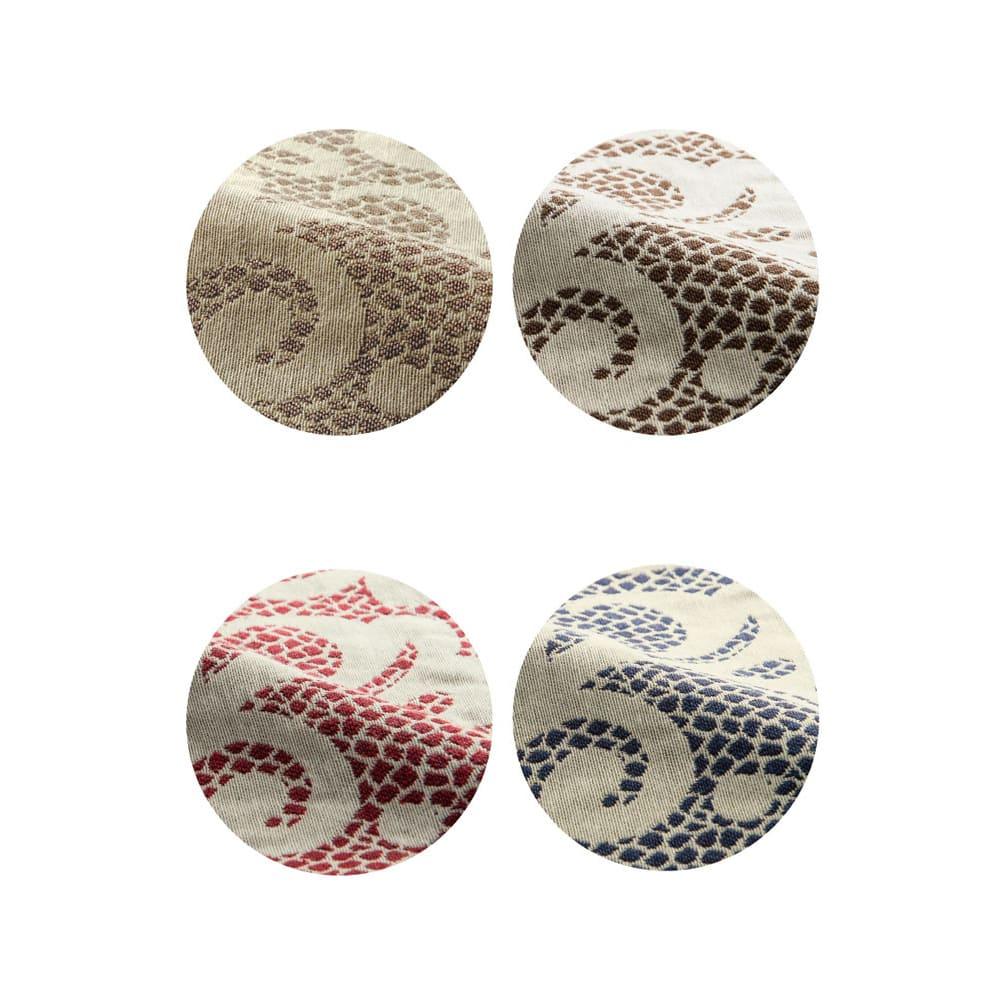 イタリア製クッションカバー[アストリッド](同色2枚組) 約45×45cm 左上から(ア)ベージュ(イ)ブラウン(ウ)レッド(エ)ダークブルー